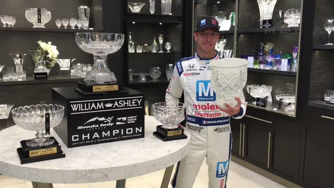 Wait ... who cleared @BourdaisOnTrack to hold the #IndyTO trophy? #INDYCAR // @hondaindy Photo