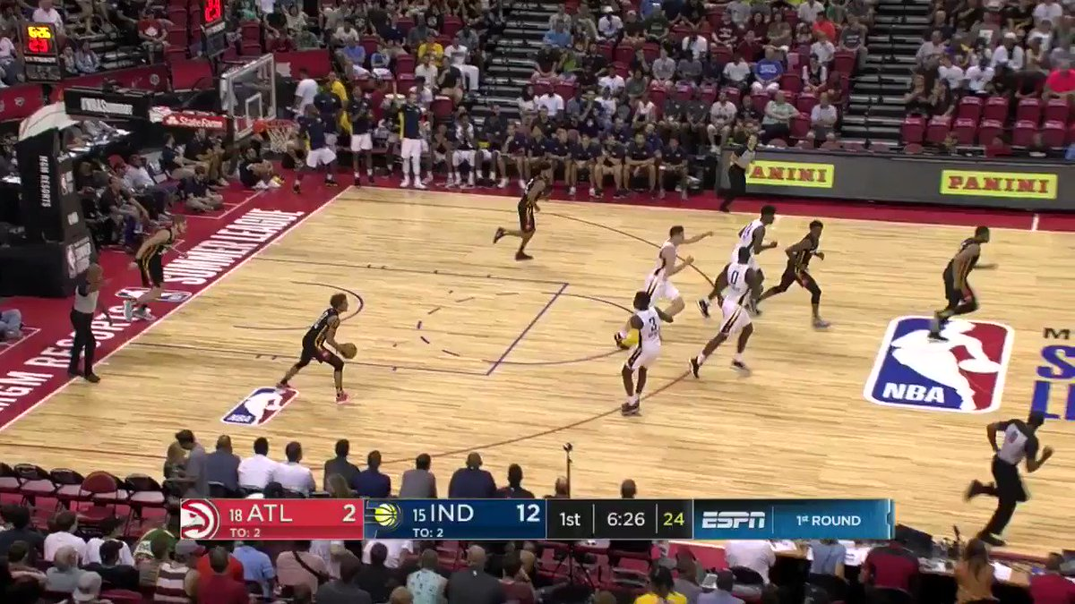 Trae Young with the triple.   #NBASummer https://t.co/5t010rMpEa