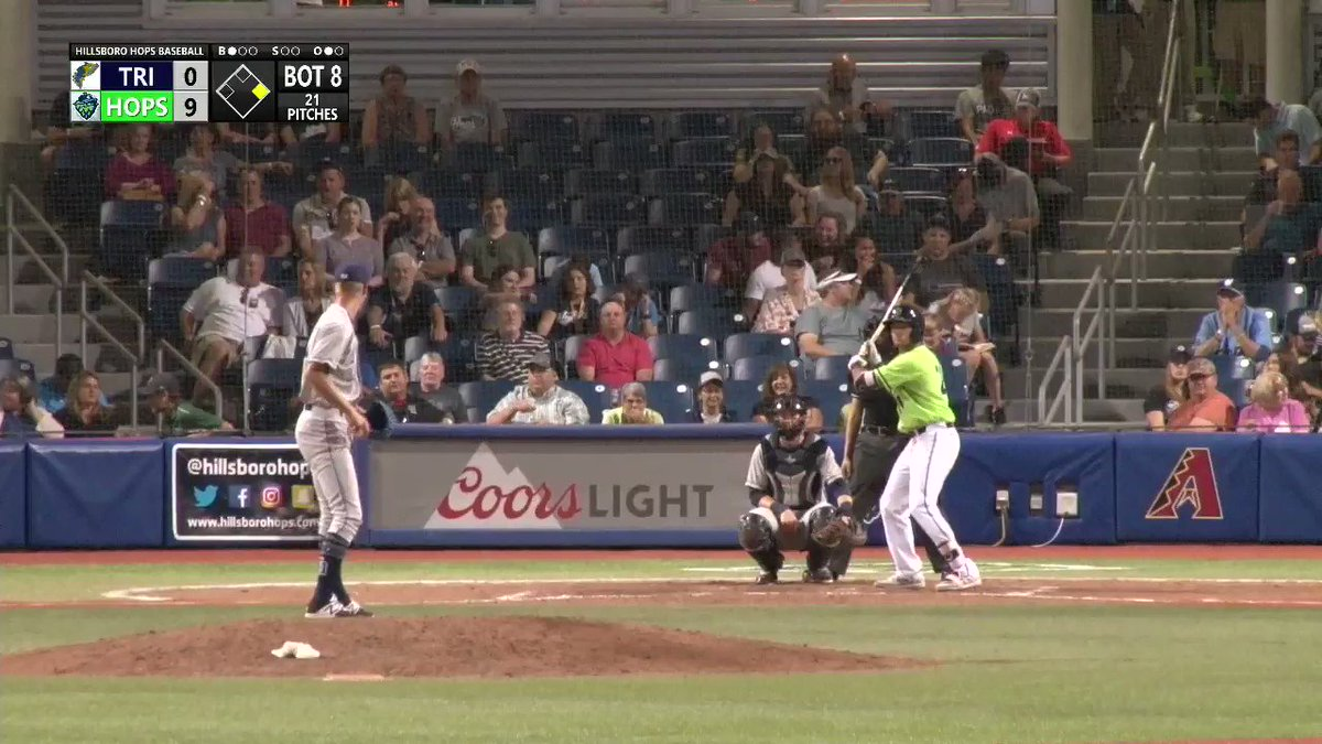 The left field fence is 325 feet. The estimated distance on this home run from @The_Rose_Petals was 427 feet, which means it cleared the fence by more than 100 feet.  #AllHoppedUp