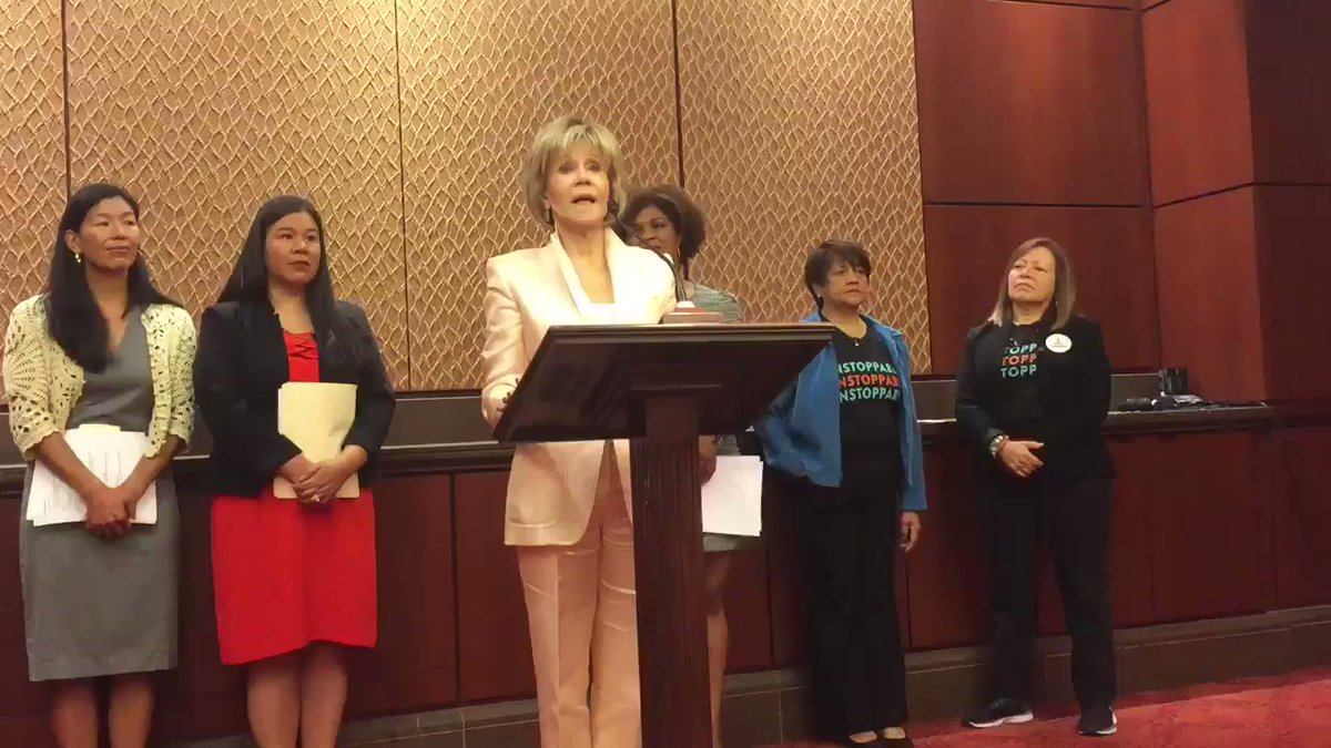 """I am here to stand in kinship and alliance and love with our sisters across sectors!"" @Janefonda #AllWorkSafeWork"
