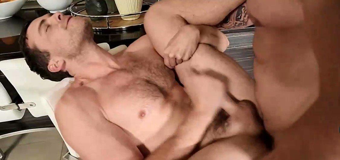 Brandon strokes himself taking every inch of caseys raw cock