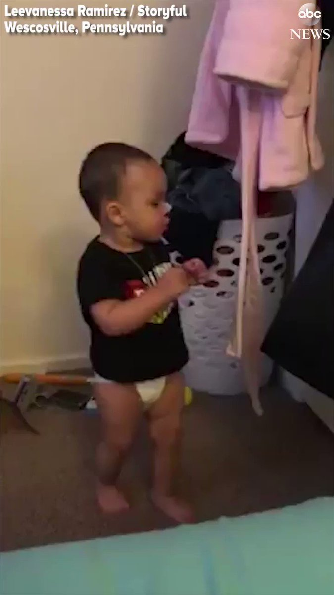 LIGHTWEIGHT CHAMP: There's nothing cuter than this little one trying out his boxing moves. https://t.co/DkOySiijiR https://t.co/QD8JBQcJPv