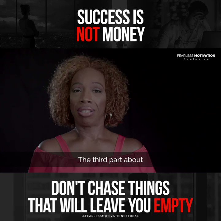 Do you agree? SUCCESS is NOT about the money. If you think it is... Youve lost. @2motivate