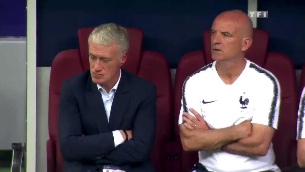 La réaction de Didier Deschamps après chaque but marqué par la France lors de la finale.🔥🇫🇷