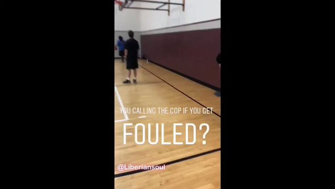 Guy in a pick-up game calls cops on person who fouled him