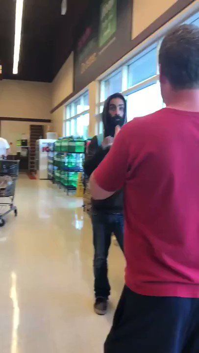 Getting more & more ridiculous Sobey's grocery store in Canada •White man accuses Black man of being an illegal alien—physically blocks him from leaving store •White man calls cops & taunts Black man w/deportation POC & White Allies: Record Everything