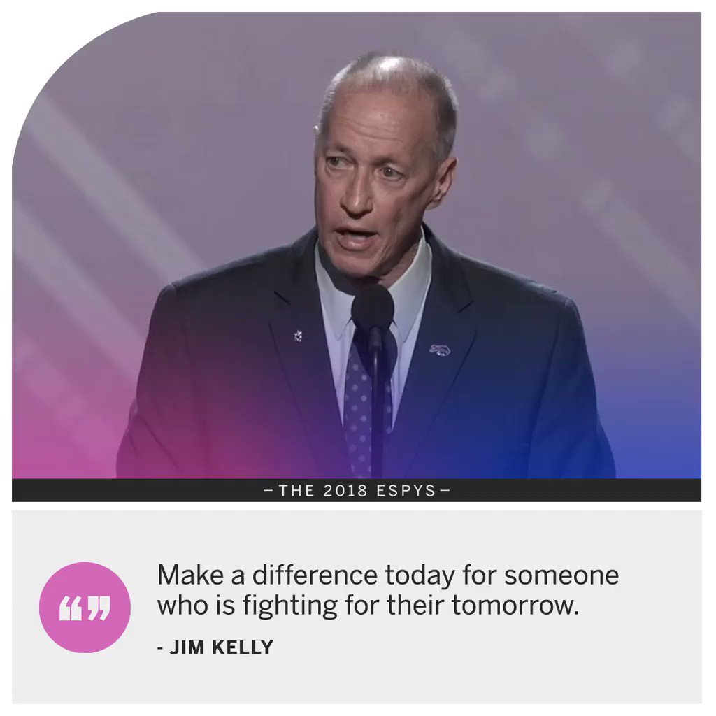 Jim Kelly focused on one message when he accepted his Jimmy V Award.