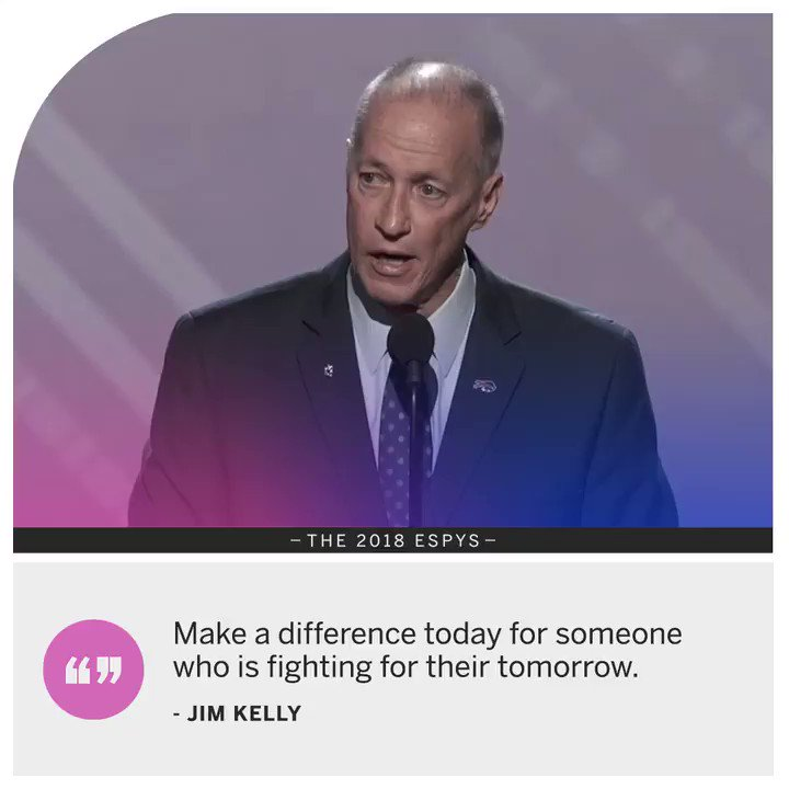 """I will never give up. I will keep fighting til the end."" —Jim Kelly  #DontEverGiveUp"