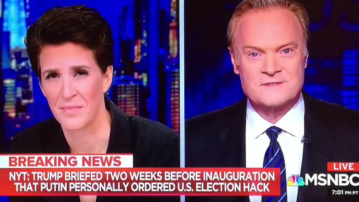 The moment @Lawrence reads the breaking news from the NYT to @maddow who immediately understands that if #TrumpKnew about the extent of Putins role in #RussianHacking on 1/6/17, hes been actively engaged in a coverup ever since.