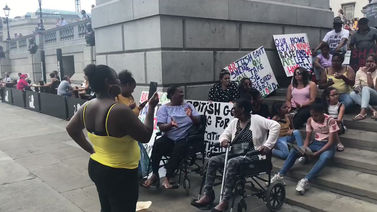 Chagossians protesting for their return to return to Chagos, and for a simple path to U.K. citizenship, after being removed from the islands by British forces for military purposes in the 1970s. More info here: https://t.co/44rjZNxiaf