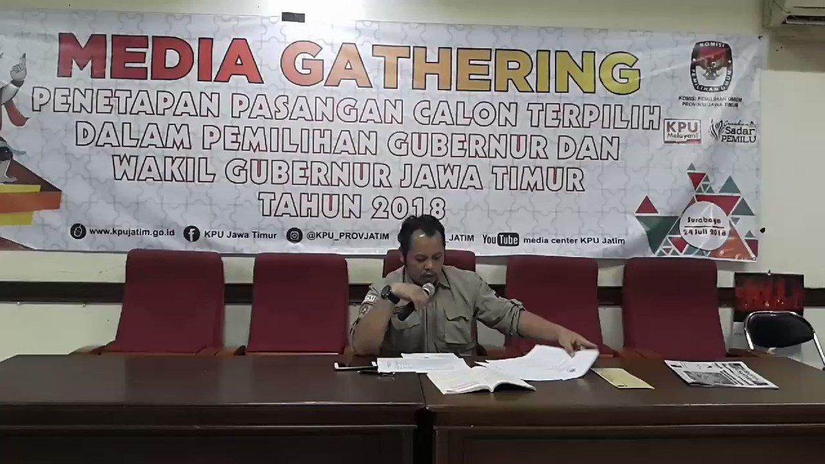 Komisioner KPU Jatim Choirul Anam menyatakan tidak ada gugatan sengketa dari Paslon peserta Pilgub Jatim 2018. Dan akan dilanjutkan dengan penetapan Paslon malam nanti pukul 19:00 Wib. #ElshintaEdisiSiang #pilgubjatim2018