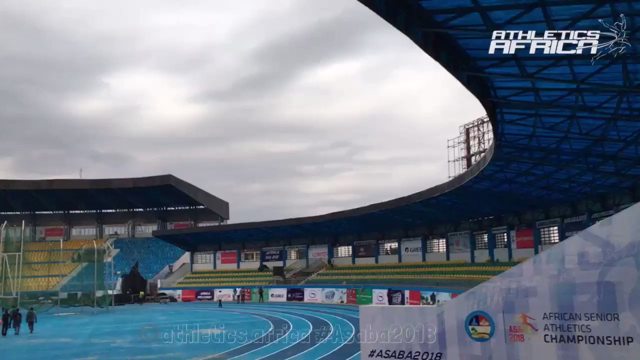 A quick 360 view of the Stephen Keshi stadium track on the eve of the 21st African Senior Championships in Asaba, Nigeria. @caaasaba2018   #asaba #asaba2018 #africachampionships2018 #athletics #athletisme #trackandfield #AthleticsAfrica https://t.co/1yGbB0EQpM