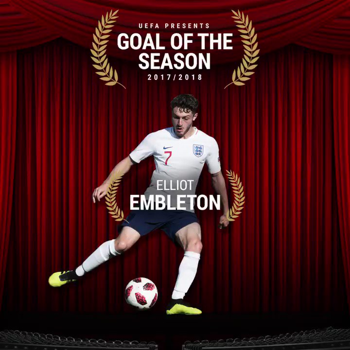 Young Lion Elliot Embleton has been nominated for the @UEFA Goal of the Season 🔥 Vote for him here: the-fa.com/YNINrG