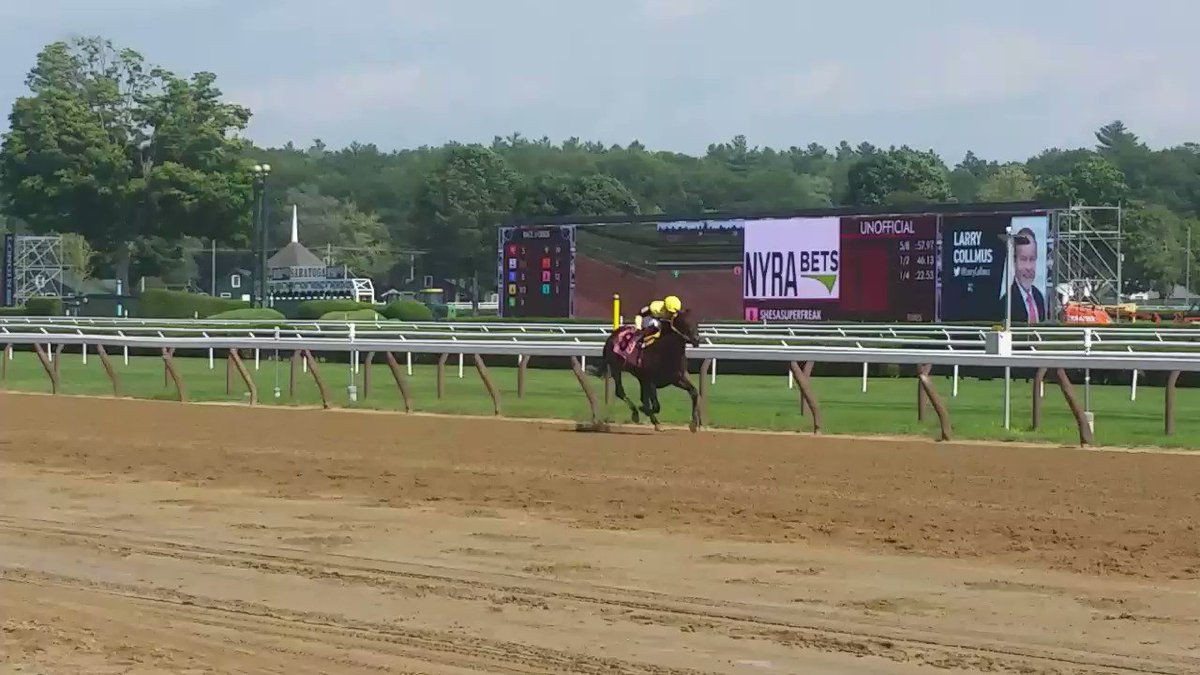 Shesasuperfreak does her name proud first out! The debuting 2yo #NYbred filly, bred by Empire Equines, romps to victory at #Saratoga. Alejandro Maymo trains for Alex Kazdan.