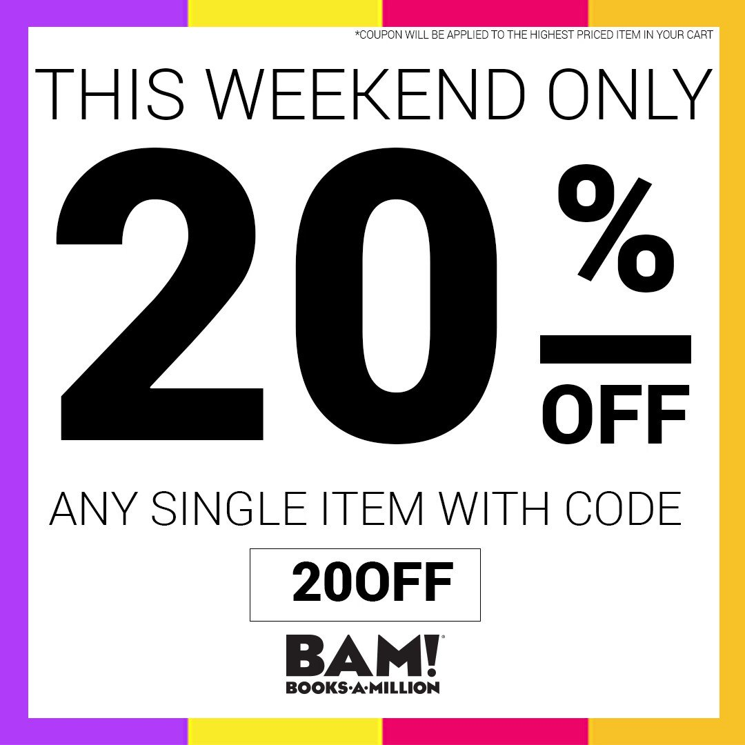 BooksAMillion.com is offering 20% off a single item, this weekend only! Use offer code: 20OFF. bit.ly/2Ba7gFg