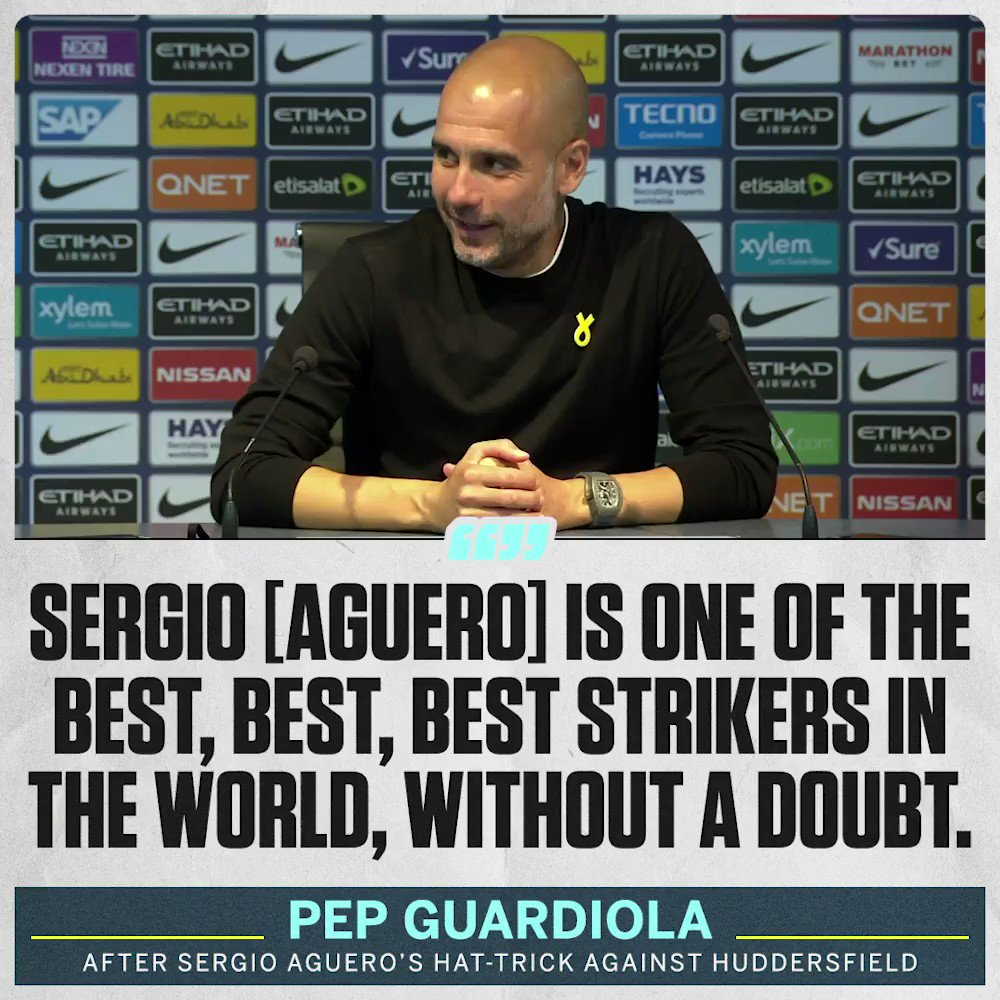 A grinning Pep Guardiola praises Sergio Aguero after his hat-trick against Huddersfield.