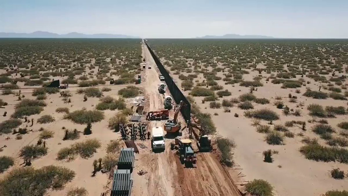 Drone footage of new wall being built along Southern border  in Santa Teresa, New Mexico (this 20 mile section is now finished)  #maga #buildthewall