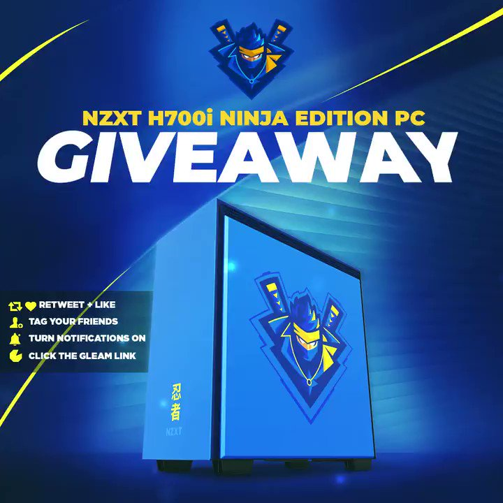 My custom @NZXT Ninja case is officially here!! In honor of it being out of pre-order and available, I'm giving away TWO Ninja PCs 🎉 NZXT H700i Ninja Edition PC 👋 Tag Your Friends 💞 Retweet, Like & Follow @Ninja 🖱️ Click Here To Enter: http://vast.mx/NINJAGA