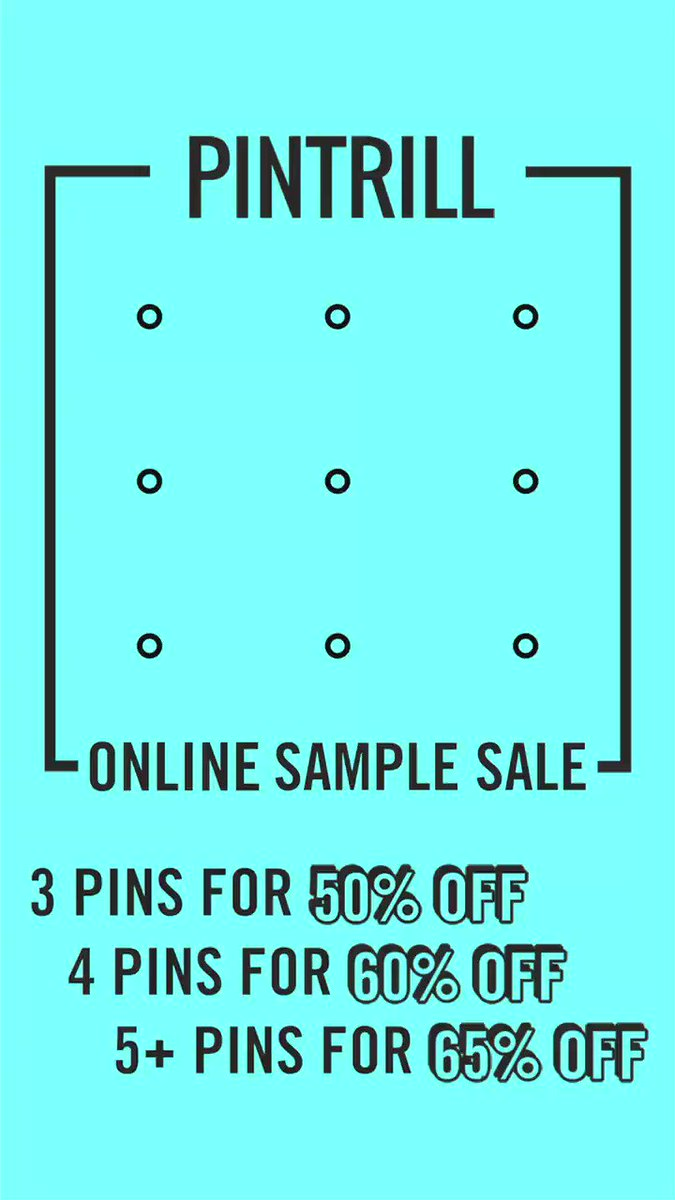 ASK AND YOU SHALL RECEIVE 📍 Our #PINTRILL Sample Sale is now online for a limited time! 3 pins 50% off 4 pins 60% off 5+ pins 65% off Shop here 👉pintrill.com/collections/sa… *Select styles included. Restrictions may apply.