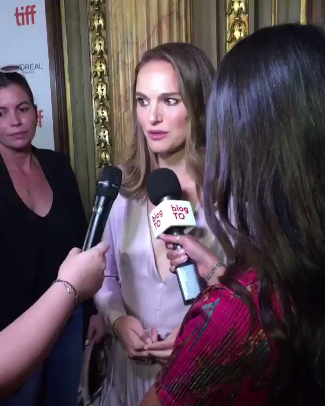 """Natalie answering press questions at the """"Vox Lux"""" Premiere during Toronto International Film Festival (2018)"""
