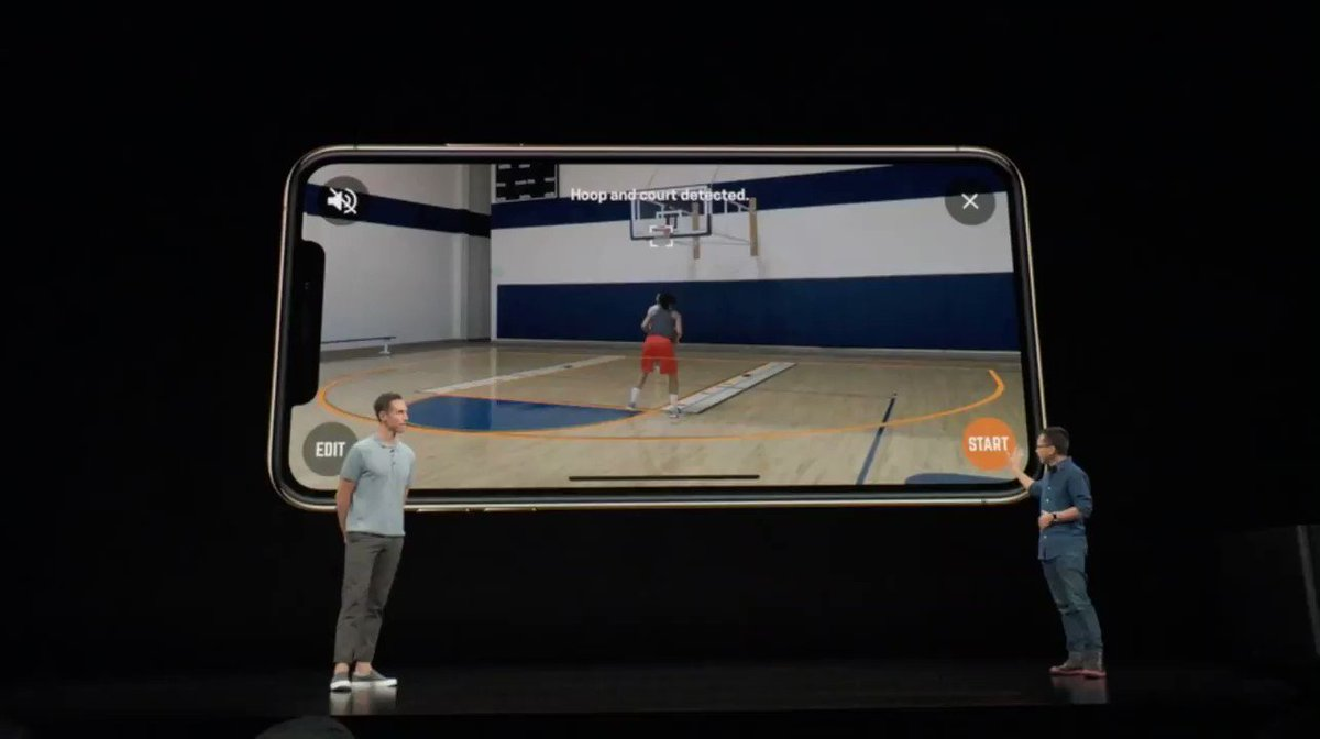 If you haven't checked out @HomeCourtai yet, you are missing out!  The app @SteveNash talked about at #AppleEvent uses #AI & #AR to train basketball skills.   Interactive elements displayed in #AugmentedReality in real-time!  Video: @JeffDLowe