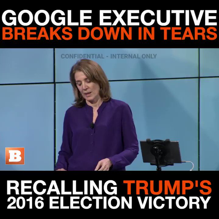 Google's Chief Financial Officer (former Morgan Stanley) on the verge of tears because Trump won and Clinton lost. How's that for neutrality and professionalism?