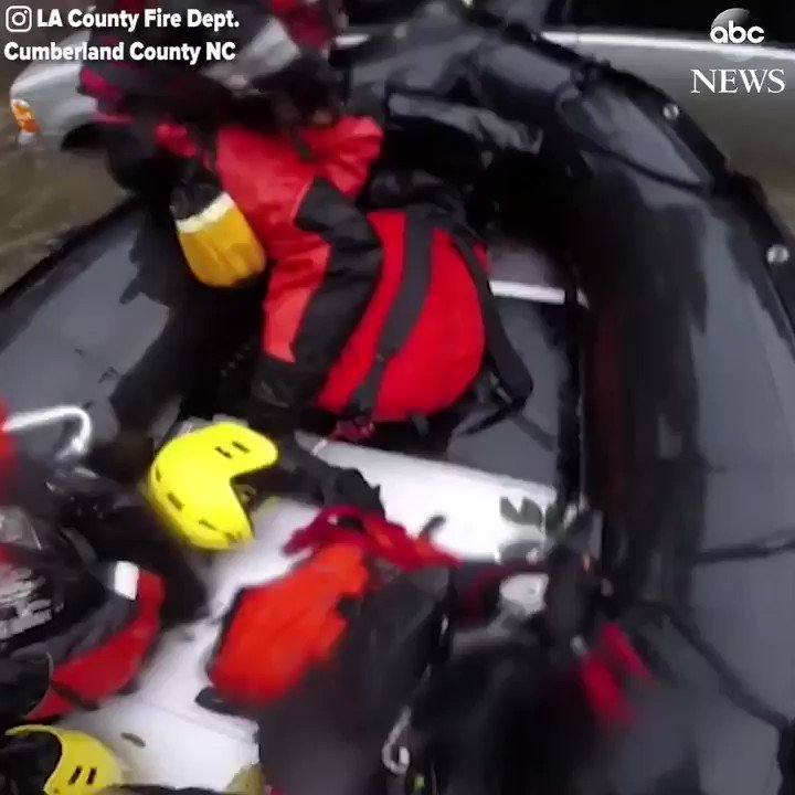 Los Angeles County Fire Departments swift water rescue team saved a man trapped in his nearly-submerged vehicle in North Carolina this weekend as Hurricane #Florence battered the Carolinas. abcn.ws/2OwxqEH
