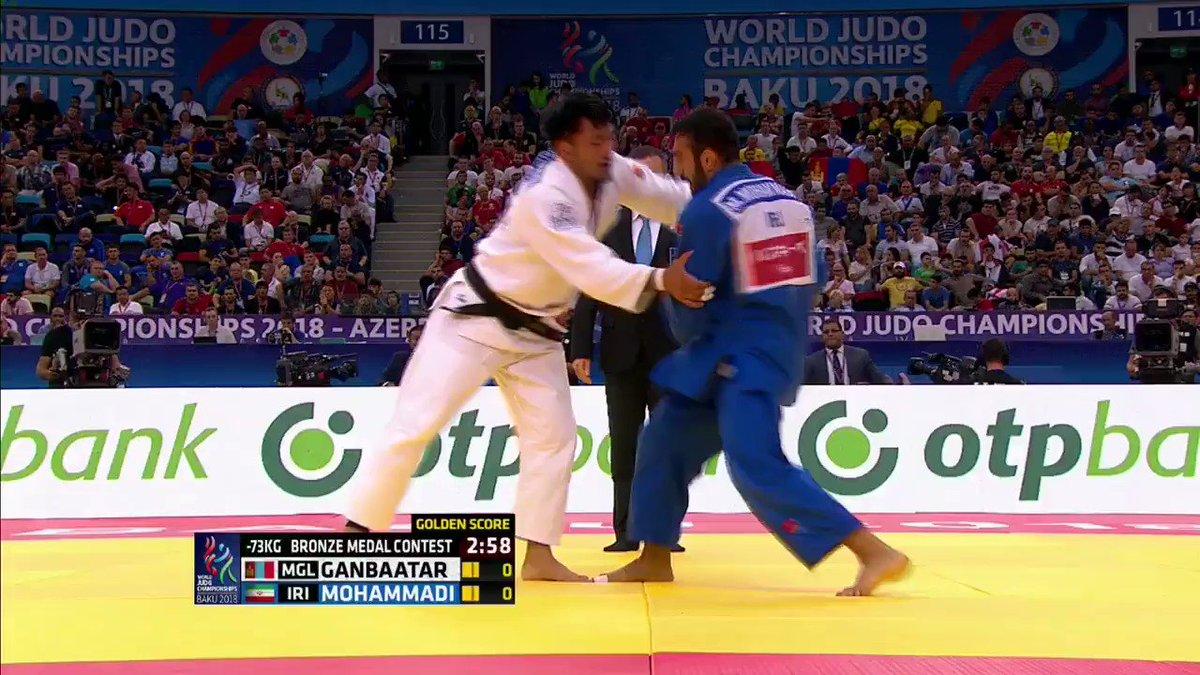 MOHAMMADI (IRI) throws GANBAATAR (MGL) with a beautiful piece of ashi-waza for -73kg world bronze! #JudoWorlds2018