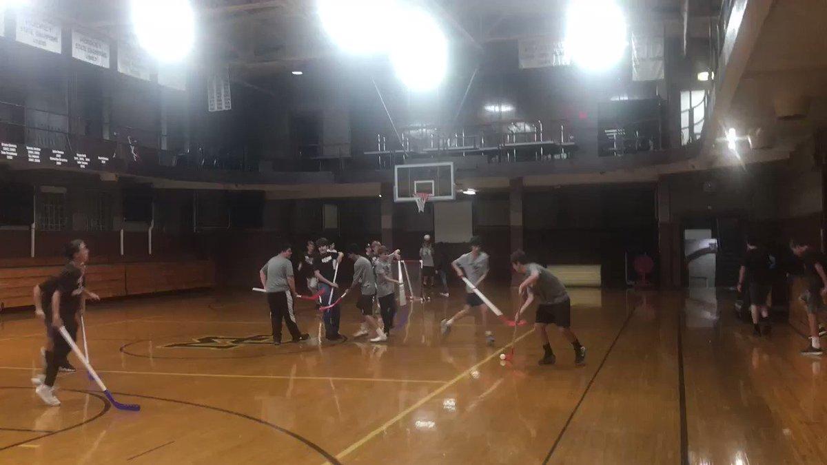 Freshmen Overnight floor hockey in Alumni Gym.
