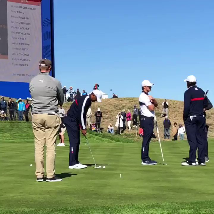 Woods, Mickelson, Reed & DeChambeau are all smiles during Tuesday's practice round! #GoUSA 