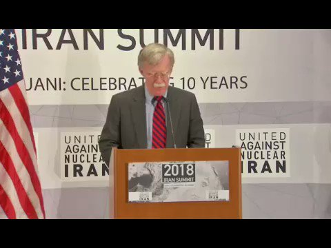 Donald Trump is an idiot. He surrounds himself with garbage like John Bolton, Nikki Haley & Mike Pompeo. Bolton thinks he is John Wayne. Listen to the threats he issued this evening towards #Iran at an event organized by UANI (United Against Nuclear Iran).