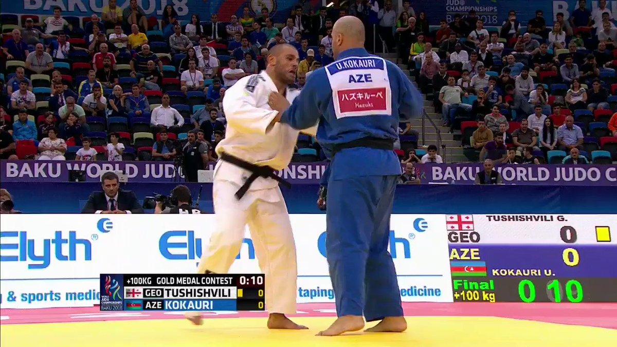 Guram TUSHISHVILI (GEO) is the new heavyweight champion of the world! Silver for KOKAURI (AZE).   #JudoWorlds2018   @TheRock