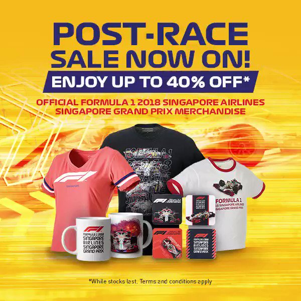 Enjoy up to40%off official FORMULA 1 2018 SINGAPORE AIRLINES SINGAPORE GRAND PRIX merchandise! Grab yours now at shop.singaporegp.sg #SingaporeGP | #F1nightrace | #F1
