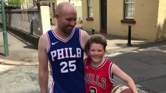 Joe and his dad Andrew were walking home from the park after shooting some hoops. Andrew wore the @BenSimmons25 #Sixers jersey his son got him for his birthday. No, this wasn't in #Philly. It was in Sydney, Australia. @jensenoffcampus from 'Down Under': https://trib.al/C97BK8Z