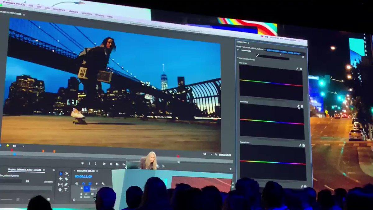 あーこれはヤバイ。動画の特定色域だけリアルタイムに色補正かける。新しい色修正ツール。  #AdobePartner #AdobeM…