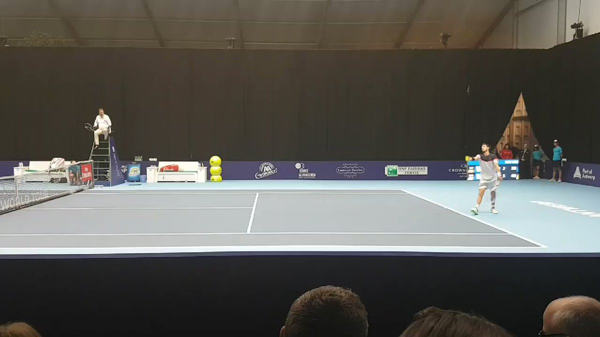 Cam Norrie beats Marcel Granollers 6-3 6-2 in the first round here in Antwerp.