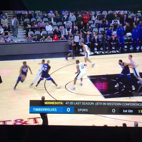 First play of the Timberwolves season: Jimmy sets up Andrew Wiggins ... for three!!