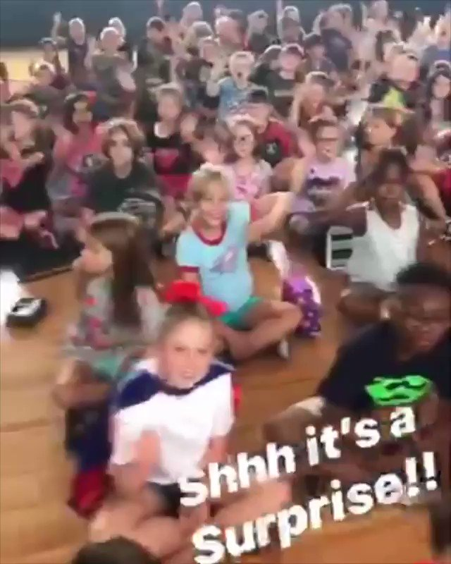 Elementary kids throw a surprise party for the custodian.