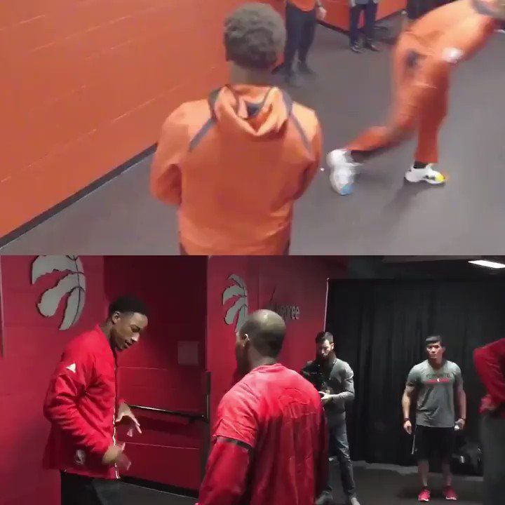 Think Kyle is missing DeMar? Hes still doing the handshake routine they used to do before a game