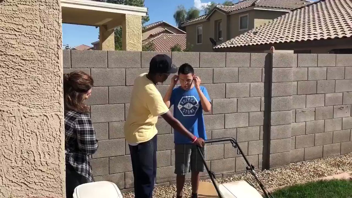 Today I met a kid named Sal from Arizona & we mowed a lawn together. This moment was special because it was his first time ever mowing a lawn . By the way, he is also blind and autistic. After giving him his safety glasses and earplugs he was ready. Sal you are a hero.