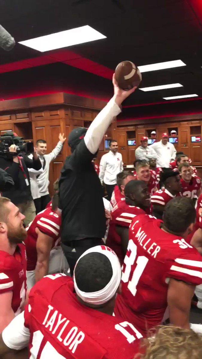 First win as the head coach at Nebraska! Game ball‼️ Congrats, @coach_frost! #GBR