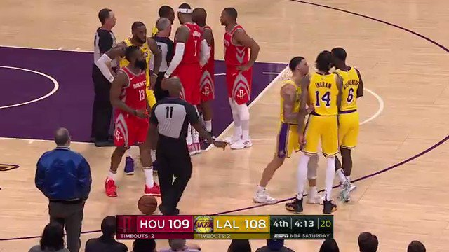 kevinmcguire: Fight breaks out in Lakers-Rockets game ESPN NBA Basketball: Houston Rockets at Los Angeles Lakers https://t.co/l7vxZbvNPH