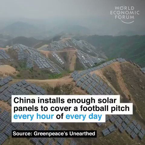 China installs enough #solar to cover a football pitch once an hour every single day. We have solutions to the #climate crisis its time to implement them. #ActOnClimate #climate #energy #cdnpoli @JustinTrudeau #StopKM