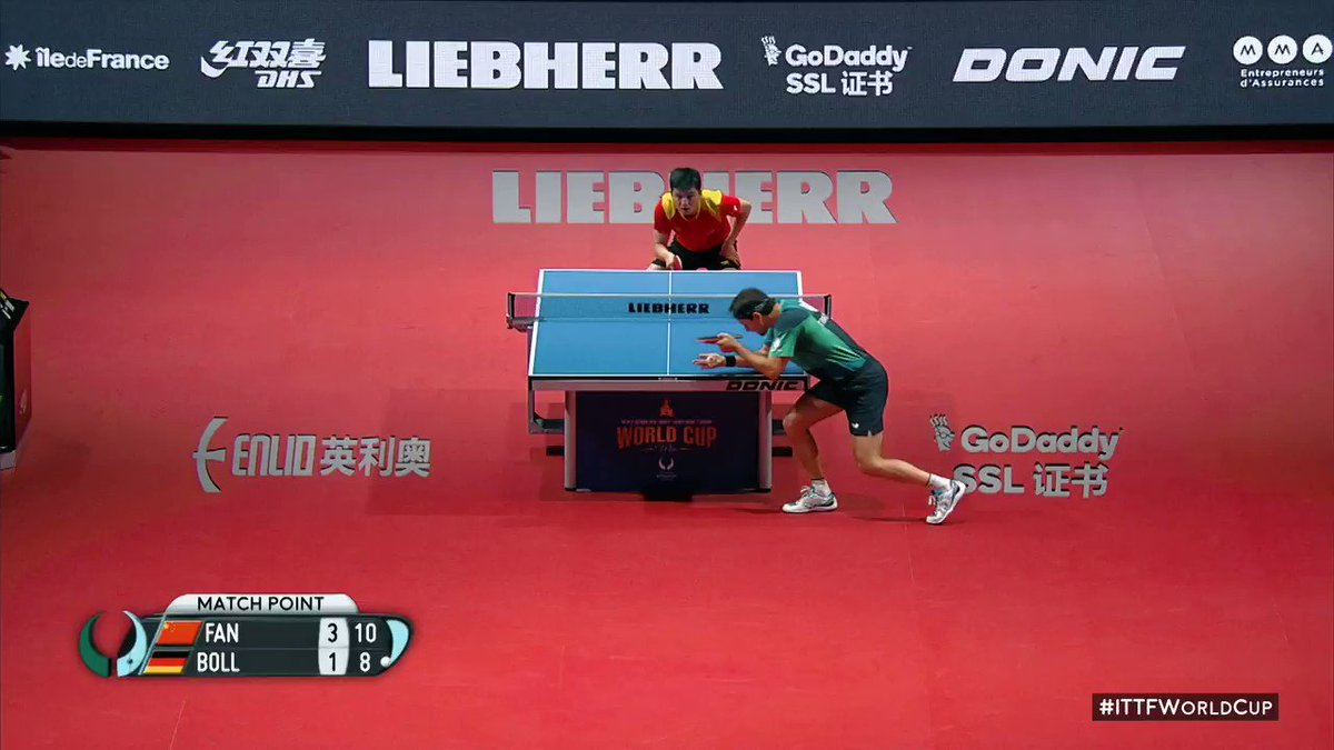 This is how Fan Zhendong & @timoboll reacted to the 2018 Men's #ITTFWorldCup final!!🔥🏆