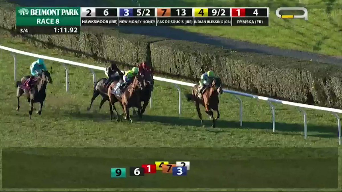 Rymska with @iradortiz makes a late stretch run to take the Athenia Stakes at #BelmontPark!