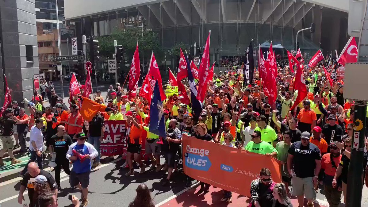Tens of thousands of angry workers are marching through the #Sydney CBD demanding fair wage increases. @9NewsSyd