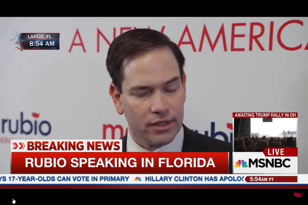 "@marcorubio @JoeBiden .@marcorubio   ""Words have consequences"".  ""You can't say whatever you want. It has real life consequences for people""  - Sen. Marco Rubio, decrying Trump's rhetoric as dangerous"