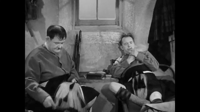 Laurel and Hardy in a clip from Bonnie Scotland