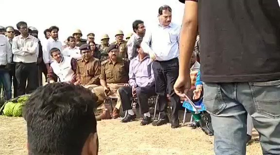 Behaviour of highly qualified government officers in front of students. They came with police force of PAC jawans to crush us.