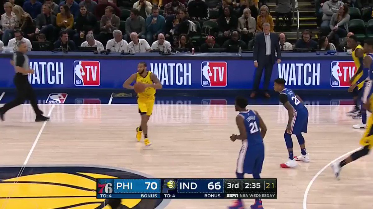 DOMANTAS SABONIS WITH AUTHORITY! ��  #Pacers 70 #HereTheyCome 75  WATCH on @ESPNNBA https://t.co/ShGM9KLcd8